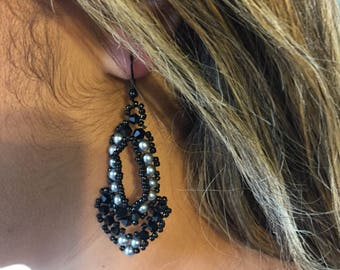 Handmade Beaded Earrings embellished with Silver pearls and black Swarovski crystals