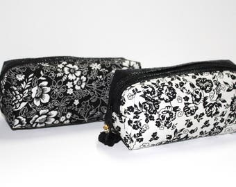 School Kit / makeup / Epilator black and white flowers to choose