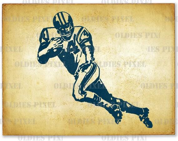 Vintage US Football Player Sports Line Art Illustration Hand