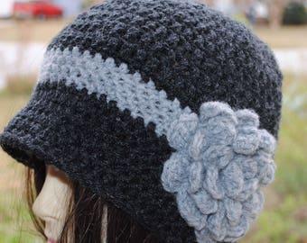 Handmade Crochet, Flapper, Bucket, Cloche Hat 22 to 23 in Heather Grey