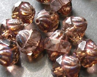 Peach w/ Picasso Czech Glass Turbine Beads (11mm) - Czech Beads