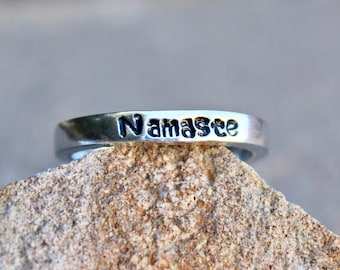 Mantra Ring - Namaste - Adjustable Ring, Hand-Stamped, Stackable Ring, Daily Reminder, Every Day Inspirational Jewelry - Namaste Meditate