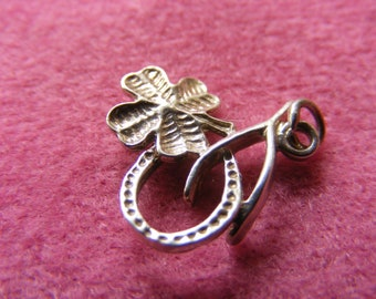 F) Vintage Sterling Silver Charm Lucky Charm Trio  four leaf clover, wishbone, Horseshoe
