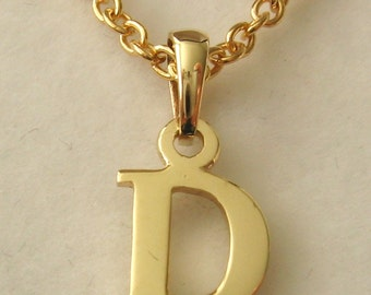 Genuine SOLID 9K 9ct YELLOW GOLD 3D Initial D Letter Pendant