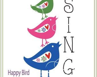Happy Bird Instant Download, Bird svg, Children's room svg, Greeting Card svg, iron on transfer