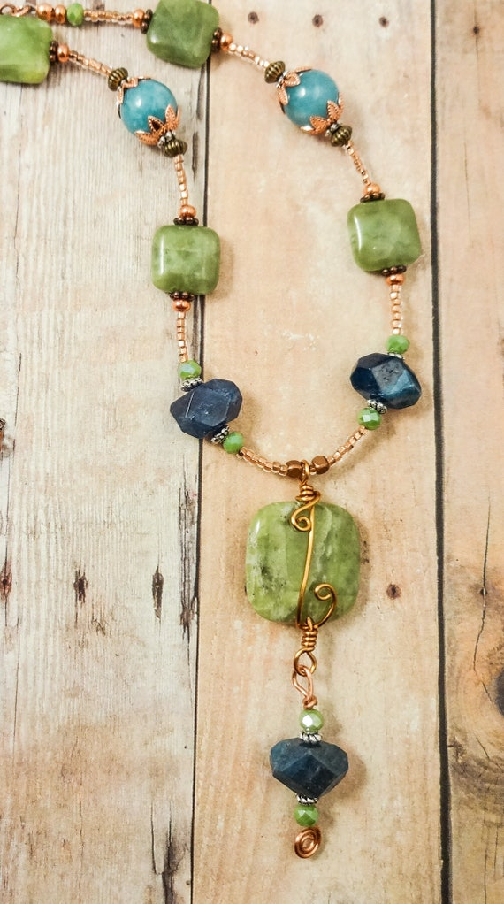 Green Garnet, Blue Apatite, Angelite and Copper Wire Wrapped Boho Rustic Necklace