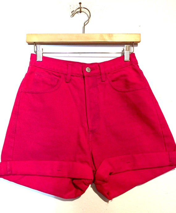 90s Vintage Guess Hot Pink High Rise Shorts
