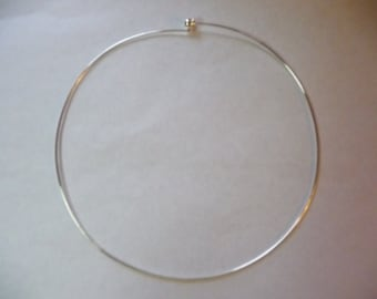 Neckwire, Silver Finished, Brass, 1mm, Rigid Wire, with 3 Point 5mm, threaded ball screw, 16 inches, Sold Individually.