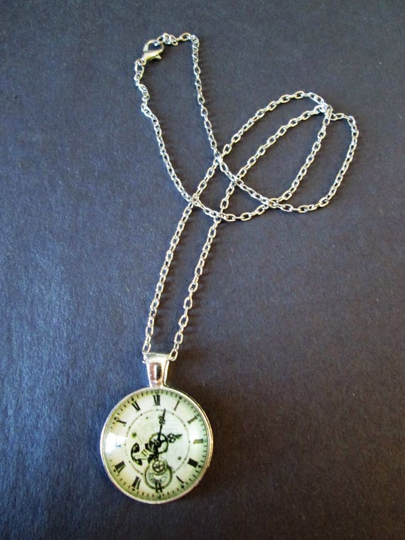 "1 New Antiqued Look Fancy Domed Glass Clock Theme Necklace 1"" Wide with an 18"" Silver Plated Chain"