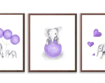 Elephant Nursery Decor, Baby Girl Nursery Art, Set Of 3 Elephant Prints, Purple and Gray Nursery, Elephant Art Prints - S022W