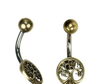 Belly button piercing brass stainless steel antique golden silver tree of life round (No. BNP-183)