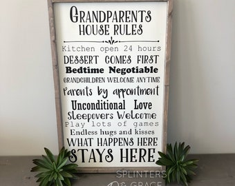 Grandparents House rules Sign, handpainted sign