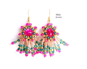 Beaded earrings, beadwork earrings, pink, gold copper earrings, hippie cluster seed bead embroidered earrings, beadweaving, chandelier
