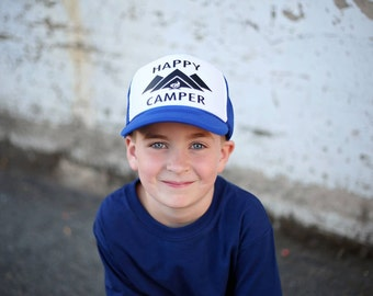 Happy Camper - Camping Hat - Youth Trucker Hat - Toddler Trucker Hat - Kids Trucker Hat - Trendy Hat - Snap Back - Boys Hat - Girls Hat