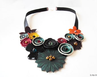Leather Bib Necklace, Colorful Necklace, Green Statement Necklace, Emerald Green, Red Yellow Flowers, Nature Jewelry