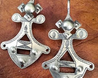 Old SILVER Tuareg Cross Earhangers