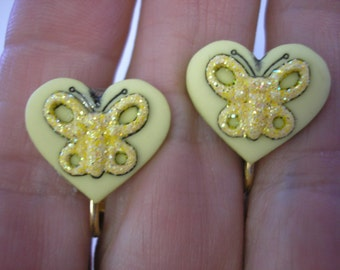 """Play Earring - Clip -  Heart w/Sparkly Butterfly - Yellow - 5/8"""""""