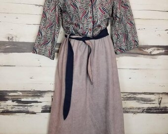 Vintage 1980s IFI Paisley 3/4 Sleeves Peasant Secretary Prairie Dress