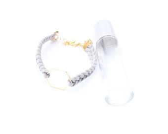 GOLD Hexagon Essential Oil Diffuser Bracelet, Braided Faux Suede, Diffusing Bracelet