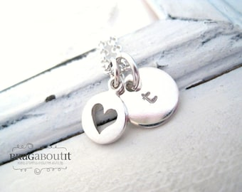 Hand Stamped Heart Necklace . Hand Stamped Personalized Jewelry . Brag About It . Teeny Tiny Open Heart