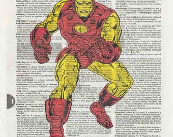 Marvel Comics Ironman on dictionary page print