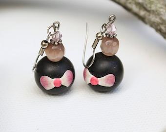 Pink/ black earrings, Earrings with bow, Statement earrings, Cat eye earrings, Author polymer clay earrings, Gift for her/wife/girlfriend