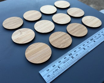 12 x Laser Cut Wooden 3.7cm Circles - Bamboo Ply, (unfinished)