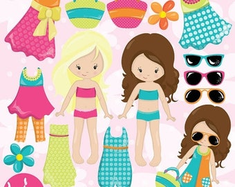 80% OFF SALE Summer girls clipart commercial use, paper doll vector graphics, doll digital clip art, paper doll digital images  - CL983