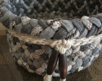 New Ready To Ship Original Design Wool Sturdy Basket / Bowl in shades of gray from recycled wool's for bathroom / kitchen / dining / nursery