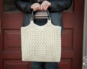 Cabled Zig Zag Bag / Purse Crochet Pattern, Beautiful Cabled Chevron Texture
