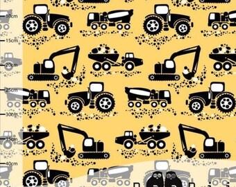 Organic jersey fabric, machines, tractors, diggers, organic fabric, yellow, paapii, 1/4  metre units