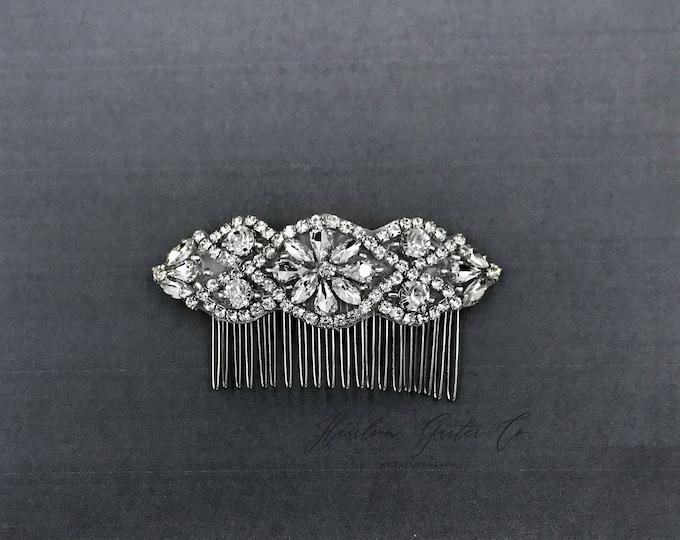 Silver Wedding Haircomb, Bridal Headpiece, Rhinestone Hairpiece, Hair Tiara, Hair Jewelry, Bridesmaid, Hair Accessory 02S