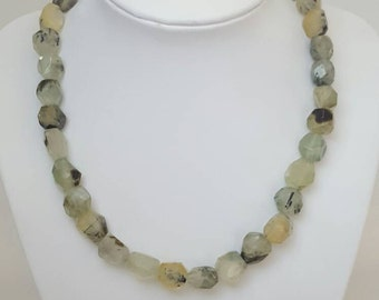 Gorgeous green faceted prehnite bead necklace. Pale green bead necklace. Rutilated prehnite.  Handmade in Australia.
