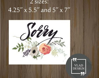Selective image in printable sorry cards