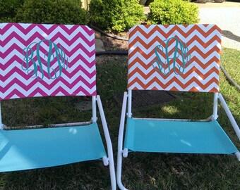 Pink Monogram Chevron Beach Chair Slip Covers