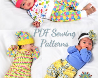 Digital BABY SEWING PATTERNS, Baby T Sewing Pattern, Baby Pants Pattern, Digital Baby Hat Pattern, Baby Bodysuit Sewing Pattern, Pdf Bundle