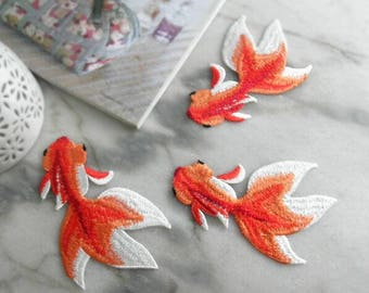 Iron-on Embroidered Appliques,Adhesive Embroidered Fish,Patches For Dress Supplies,Red Koi Fish,Tattoo Appliqué,Embroidery DIY Denim Jacket