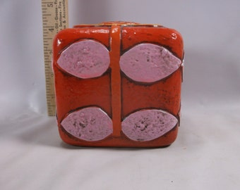 Coin Bank Vintage Pride Creations  1968 Orange Yellow with Flowers.epsteam