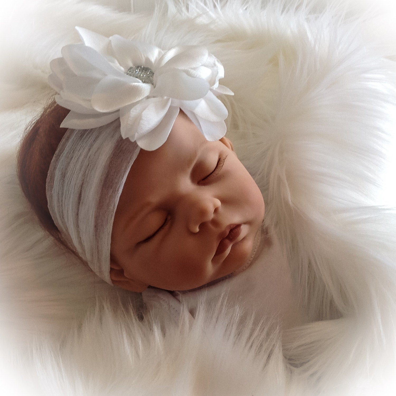 Newborn Baby Girl Headband White Baby Flower Headband Soft Baby