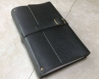 A Simple Sturdy Leather Journal, or Diary -- with Lined Pages, and Belt and Buckle Closure!