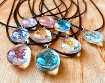 Flower Pendant, Flower Necklace, Dried Flower, Glass Pendant