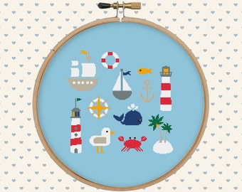 Nautical cross stitch pattern pdf - sea cross stitch - whale, lighthouse, anchor, boat - instant download