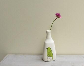 Ceramic green bird bud vase, spring garden gift for her, Mother's day gift
