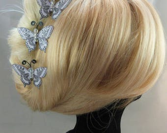 hairpins Butterfly silk gray purple body beads, gunmetal - m - Ombre, spring, made in France
