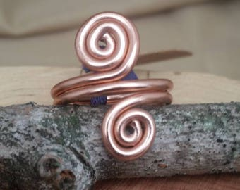 Statement ring wire spiral ring wire work hand wrapped adjustable