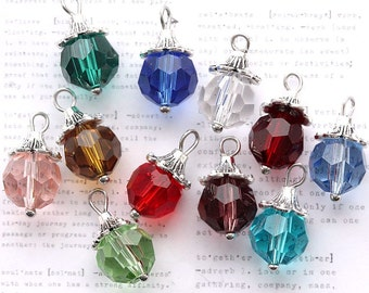 BULK 60 Birthstone Beads Faceted 10mm with Bead Caps and Loop 5 of Each Month- DBD560