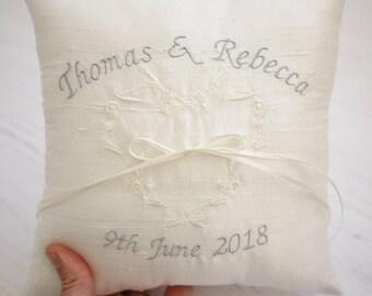 wedding ring cushion,personalised silk wedding cushion,wedding ring pillow,ring cushion,wedding cushion,ring bearer pillow