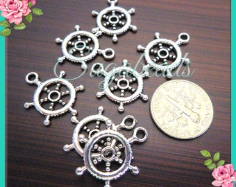 8 Antiqued Silver Ship Wheel Charms or Connectors 20mm x 15mm PS127