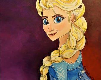 Elsa from Disney's Frozen acrylic painting- print
