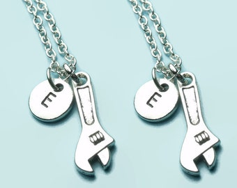 Spanner charm necklaces, mechanic best friend necklaces, matching necklaces, double necklace set, personalised initial, car mechanic, gift